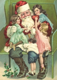 Kerstman met veel kindjes Reliefkaart EF 3014