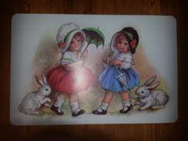 Placemat poezieplaatjes Kindjes met konijntjes