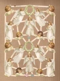 Engeltjes met bloemkrans poezieplaatjes 7382