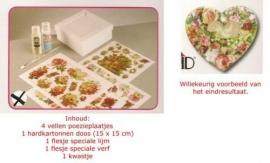 Compleet pakket decoupage met poezieplaatjes (vierkante doos)