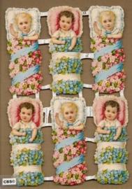 Baby`s in bloemenbed poezieplaatjes 7131