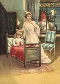 Moeder en kind wachten op Kerstman Reliefkaart EF 3054