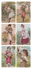 Dames plukken bloemen poezieplaatjes Stickers Y171