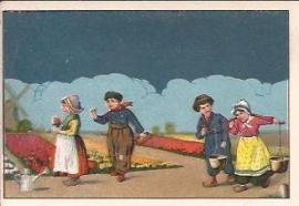 Oude Litho: klederdracht in bollenveld