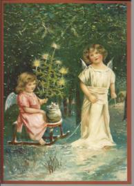 Kerstengelen op de slee Glitter prentbriefkaart [SV 6Wg025]