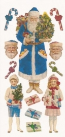 Kerstman met Mintgeur (kras) poezieplaatjes Stickers S01