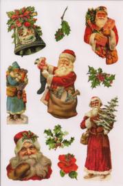 Glitter Poezieplaatjes Kerst stickers Kerstmannen