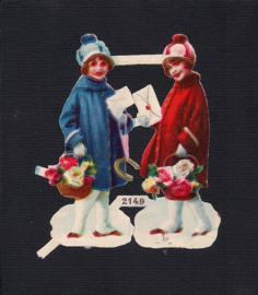 Winterse meisjes (2) antieke poezieplaatjes 2149 (157)