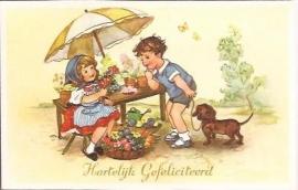 Bloemen voor je verjaardag - oude felicitatiekaart [14177]