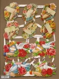 Handjes met duifjes en bloemen Poëzieplaatjes GL7093
