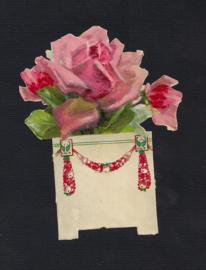 Licht roze roos bloempotje antiek poezieplaatje