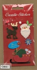Kerststickers met glinsters en Arreslee
