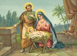 Jozef en Maria bij kribbe Jezus Reliefkaart EF 3036