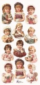 Ouderwetse kinderen poezieplaatjes Stickers P29