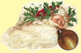 Kerst Guirlande Kerstman met hoorn poezieplaatjes