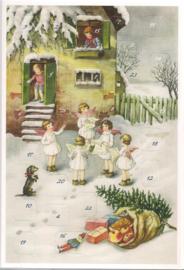 Adventskalender Kaart: Engelen zingen bij deur - 12404