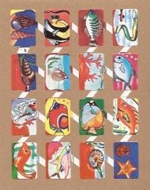 Zulia 5 oude Spaanse poezieplaatjes Vissen