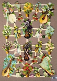 Muziekinstrumenten met bloemen poëzieplaatjes 7319