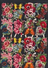 AFKH 11 Bloemen met vlinders poezieplaatjes