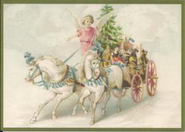 Engel op ponywagen met kerstgeschenken Glitter prentbriefkaart [SV 6Wg003]