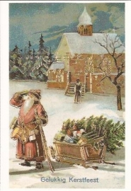 Kerstman bij de kerk prentbriefkaart [D628]