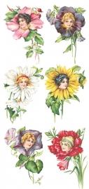 Dameshoofdjes met bloemen poezieplaatjes Stickers Y117
