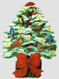 Die-cut Kerst kaart: Boom met vogeltjes [XC-3462]
