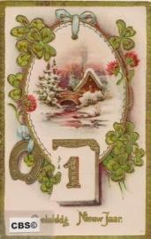 Sneeuwlandschap met goud - oude nieuwjaarskaart [10207]