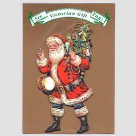 6 Victoriaanse Gift Tags: Kerstman met boom [XT-1108/6]