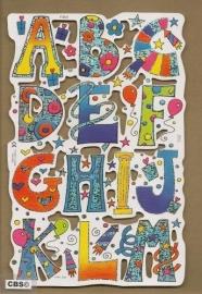 F3001: Vrolijk alfabet deel 1 poezieplaatjes met glinsterfolie