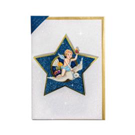 Glitter 3D Ster Kerst kaart: Engel met duif [XC-5485]