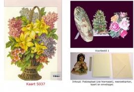Sierkaart 5037: Mand met bloemen en seringen Poezieplaatjes