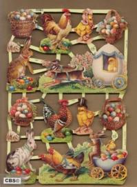Paaseieren, kuikens, kippen en hazen poezieplaatjes 7222