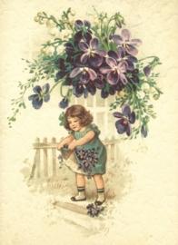 Meisje verzameld Viooltjes Reliefkaart EF 3044