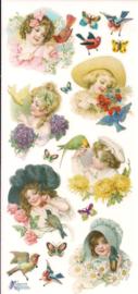 Kindjes met vogels poezieplaatjes Stickers C84