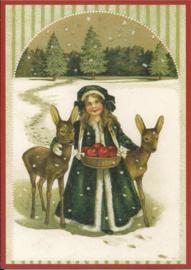 Hertjes met meisje in de sneeuw Glitter prentbriefkaart [SV 6Wg009]