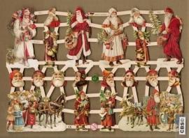 Kerstmannen met kerstboom en slee poezieplaatjes 7331