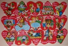 PZB 1238 Dubbel vel Rode hartjes groot Poezieplaatjes