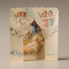 Christmas Card 3D: Kindje Jezus in kribbe met relief 489