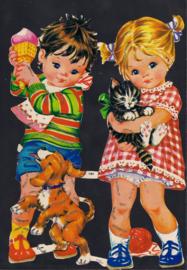 Jongen en Meisje met hond en kat Zilver Glitter poezieplaatjes MLP 1461