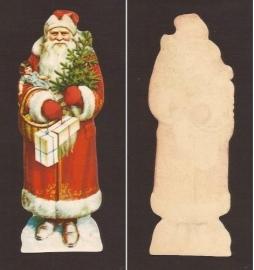 Kerstman 20 centimeter antiek poezieplaatje
