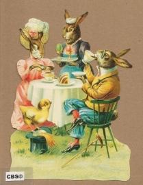 Familie Paashaas aan het paasontbijt poezieplaatjes 5113
