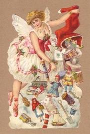 Kerstengel met geschenken poezieplaatjes 5149