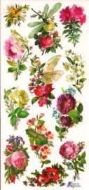 Bloemboeketjes met Libelle poezieplaatjes Stickers C69