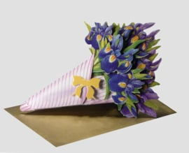 3D Boeket bloemen kaart: Irissen [EC-5006]