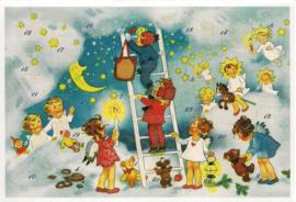Adventskalender Kaart: Met een trapje naar de wolken - 12408