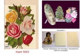 Sierkaart 5003: Meerkleurig Rozenboeket Poezieplaatjes