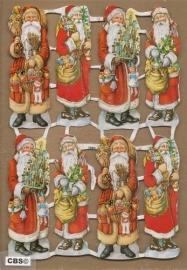 Acht kerstmannetjes poezieplaatjes GL7084