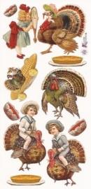 Thanksgiving kalkoenen poezieplaatjes Stickers P37