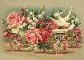 Bloemen oldtimer met rozen en duif Reliefkaart EF 3059